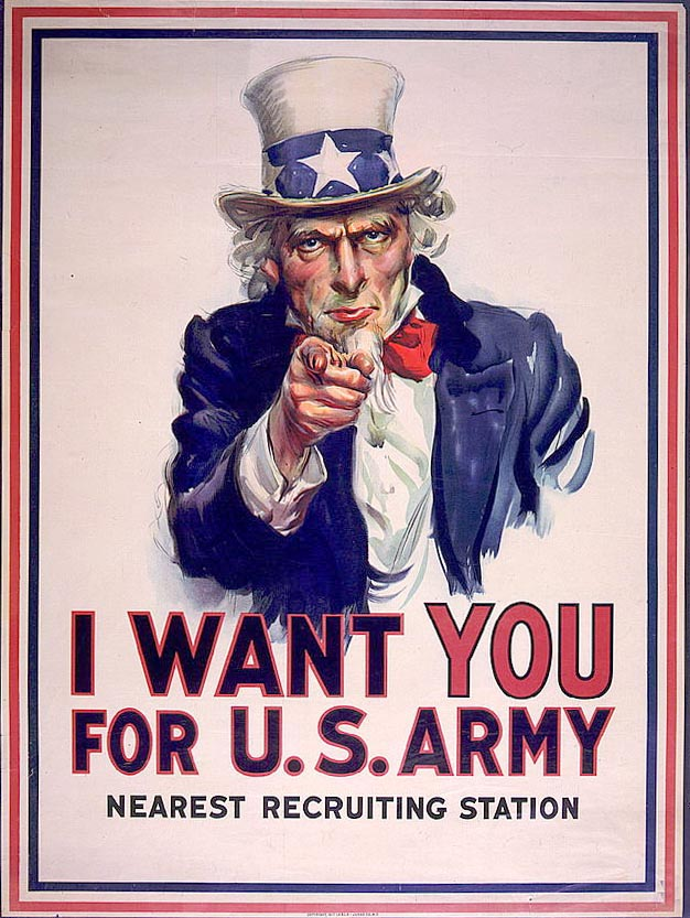 Uncle Sam in his famous white top hat.