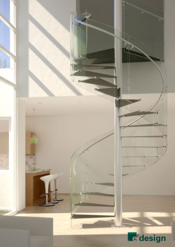 Spiral staircase with ultra thin carbon treads, stainless steel pole & handrail, and glass balustrade.