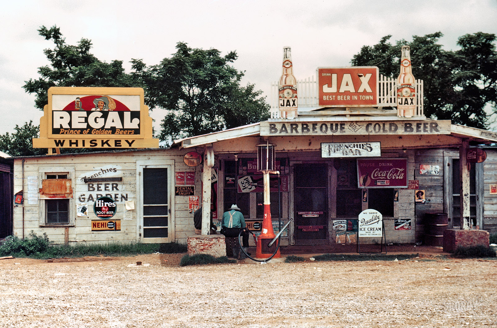 "June 1940. Melrose, Louisiana. ""A crossroads store, bar, 'juke joint' and gas station in the cotton plantation area."" 35mm color transparency by Marion Post Wolcott for the Farm Security Administration."