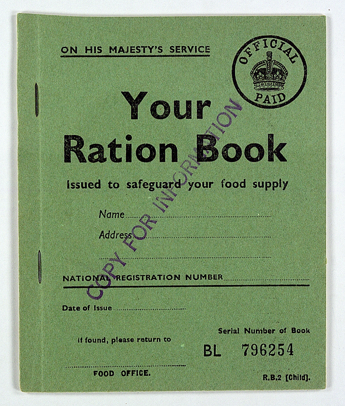 Sample Child's Ration Book. Throughout the 1940s (and for nine years after the end of the war) every man woman and child in Britain owned ration books of coupons for food and clothing. The Ministry of Food's carefully formulated diet is generally believed to have improved the nation's health.