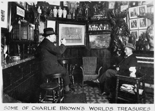 Charlie Brown's pub showing curiosities brought back by sailors